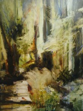 deep forest boardwalk 22x28 oil on paper