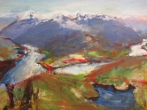 land, water intersect 30x18 oil on wood