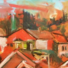 townsite rooftops 48x22 oil on wood
