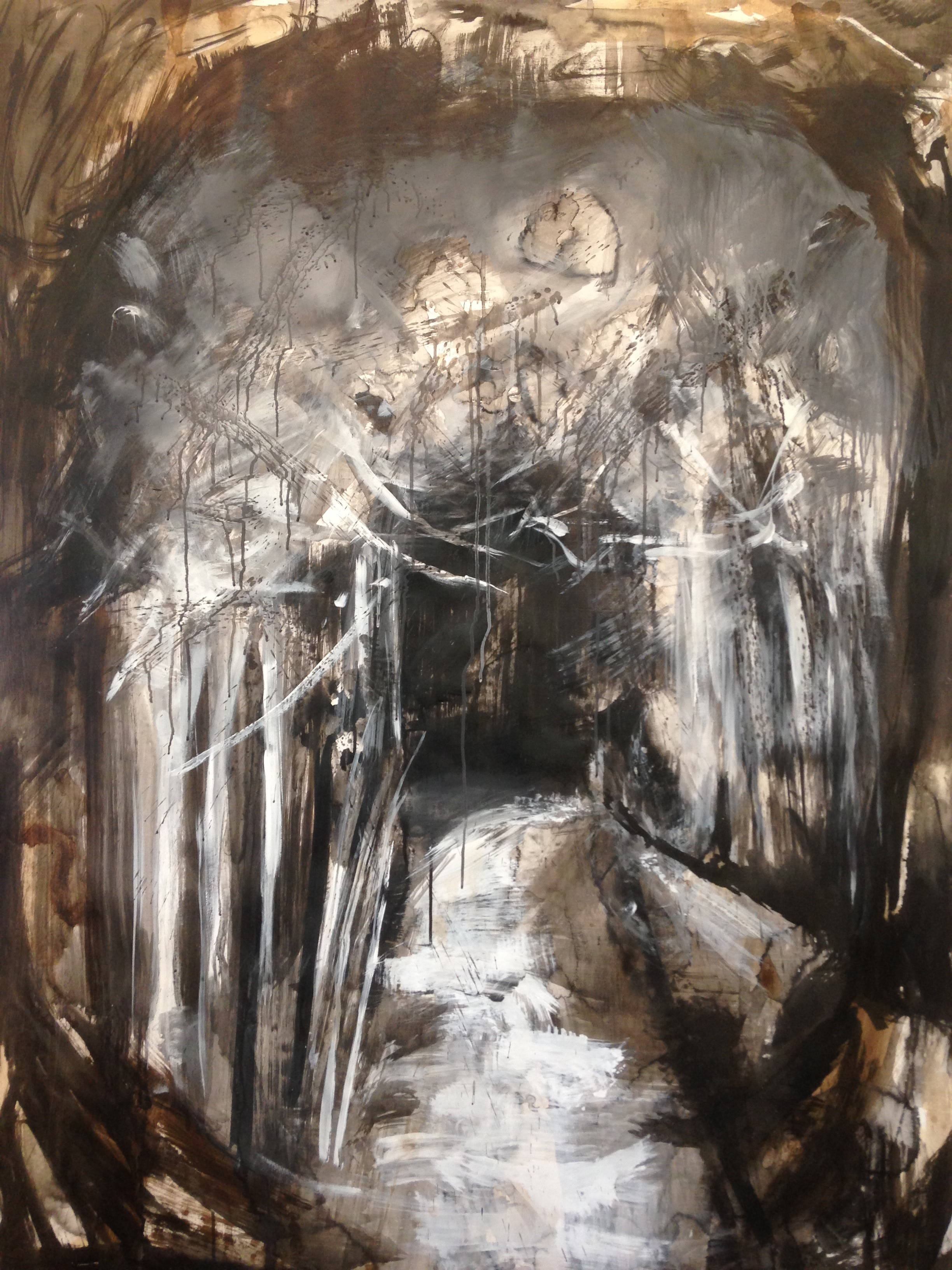 tunnel 48 x 72 ink and acrylic on paper 2017